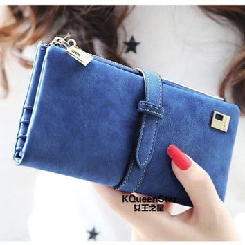 2015 Women Wallets fashion trends pumping frosted multi-card pu leather two fold wallet lady Ms. Long purse card = 1931886980