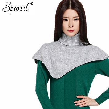 Sparsil Women Winter&Autumn Turtleneck Cashmere Blend Pullover Knitted Cape Ring Scarves Solid Color Warm All-Match Bufandas C89