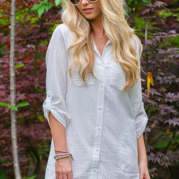 Country White Cotton Tunic Dress