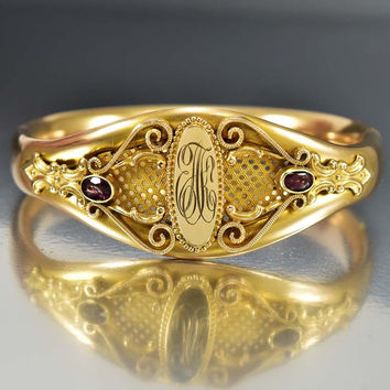 Antique Art Nouveau Gold Filled Bangle Bracelet Cuff