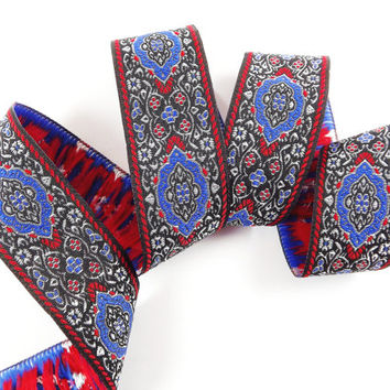 Blue Red Turkish Carpet Motif Woven Embroidered Jacquard Trim Ribbon - 1 Meter or 3.3 Feet or 1.09 Yards