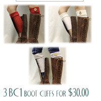 3 piece set Black Friday Cyber Monday Sale ASPEN CUFFS oatmeal, ivory, red knit Boot cuffs boot toppers mini leg warmers Catherine Cole