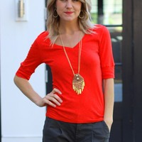 Lightweight V Neck Tee- Michael Stars Red V Neck Tee-$64.00 | Hand In Pocket Boutique
