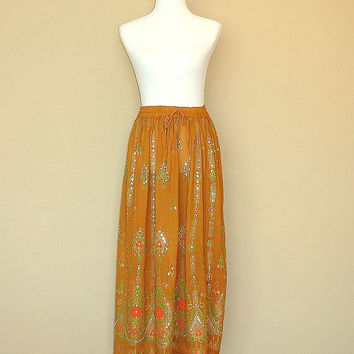Gypsy Skirt: Golden Yellow Maxi Skirt, Long Bohemian Skirt, Flowy Indian Boho Skirt with Sequins