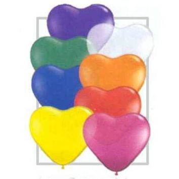 6 inch Heart Balloons - Jewel Tone Assortment (100/Pack)
