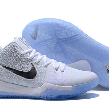 Nike Kyrie Irving 3 White/Silver Sport Shoes US7-12