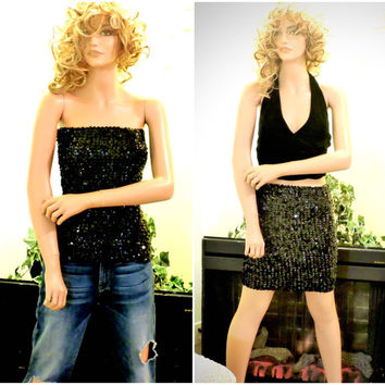 Black shiny sexy sequined tube top 80s black sequin tube top 1980s disco tube top black sequined mini skirt size S M L Sunny BohoVintage