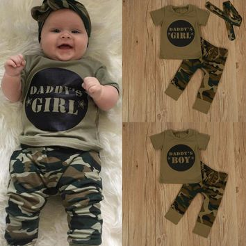 Puseky Fashion Baby Infant Boys Girls Clothes Sets Military Camo O-neck Sports T Shirt+Camouflage long Pants+Headband