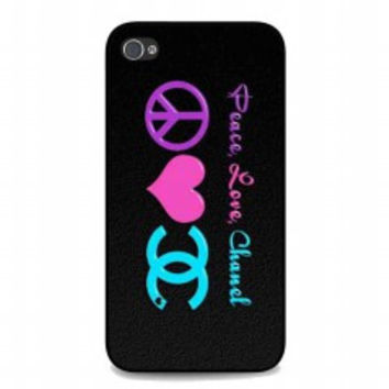Peace Love Chanel for iphone 4 and 4s case