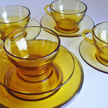 Vintage Glass Dish Set - Amber Glass Bormioili Vitrosax Glass Dishes - Italian 4 Cups and Saucers and 4 lunch Plates