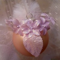 Christmas Ornament Shabby Chic Pink white pale lavender