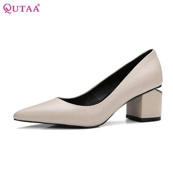 QUTAA 2017 Women Pumps Square Med Heel Genuine Leather Pointed Toe Slip On Fashion Elegant Ladies Wedding Shoes Size 34-39