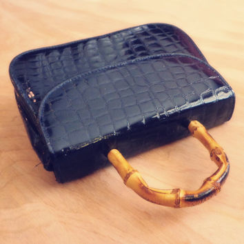 Vintage Navy Blue Faux Crocodile Purse with Bamboo Handle