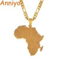 Anniyo Hip-hop Style Africa Map Pendant Necklaces Gold Color Jewelry For Women Men African Maps Jewellery Gifts #043821