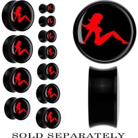 Black Acrylic Black Red Mud Flap Girl Saddle Plug