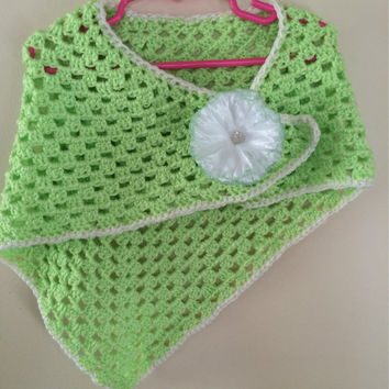 Crochet Children Summer Shawl Wrap Flower Bow
