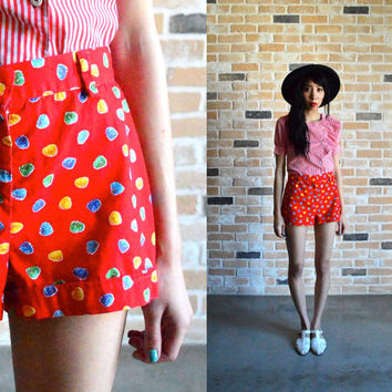 90s rainbow gumdrop high waist shorts - soft cotton linen - adorable candy print - extra small XS small S