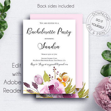 Bohemian Wedding Bachelorette Invite, Invitation, Rose, Floral Watercolor, Invitation Template, Brides, Shower Invitation, Printable Bridal