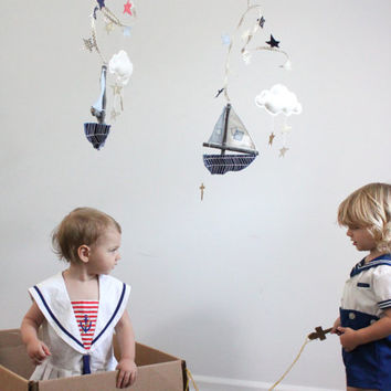 Boat Mobile - Follow Your Own Star - handmade nautical nursery decoration in navy blue, gold, white, and ocean blue
