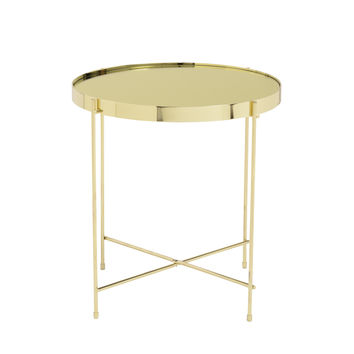 Trinity Round Side Table in Gold Tinted Mirror with High Gloss Gold Base