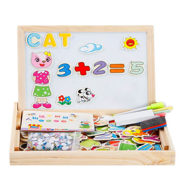Topper-E 100 Pieces Kids Toy Wooden Magnetic Board Puzzle Games Multifunctional Drawing Board Double Side Jigsaw Puzzle Set Drawing Chalkboard Educational Toys(Figure+Numbers+Letter)) '