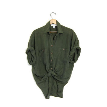 vintage silk shirt. slouchy army green silk blouse. minimalist short sleeve top. oversized 90s silk pocket tshirt. Slouchy Mens Womens tee