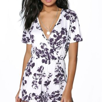 Erin Floral Print Wrap Front Playsuit | Boohoo