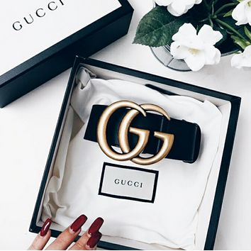 GUCCI Classic Trending Women Men Delicate Metal Smooth Buckle Belt Leather+Gift Box I