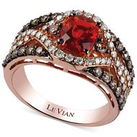 Le Vian 14k Rose Gold Ring, Fire Opal (3/4 ct. t.w.), Chocolate (5/8 ct. t.w.) and White Diamond (1/2 ct. t.w.) Ring