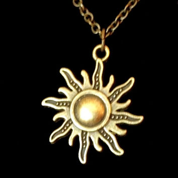 Antiqued bronze ornate sun pendant necklace