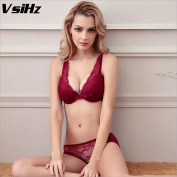 Europe  women push up sexy bra sets plus size 38C lace bra sets lingerie sets sexy panties and bra sets new lace deep V