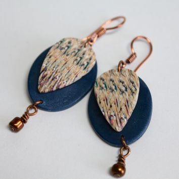 Organic Polymer Clay Dangle Earrings w/ Fresh Water Pearls, Blue, Gift For Her,  Lightweight Earrings, Ikat pattern, Copper, Ikat Design