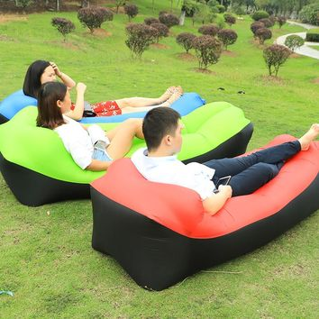Fast Inflatable Sleep Bed Air Sofa With Side Pocket