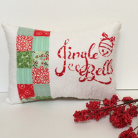 Quilted Christmas Pillow, Quilted Holiday pillow, Jingle Bells Pillow