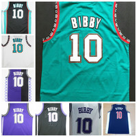 Throwback 10 Mike Bibby Jersey Mens Retro Team Color Black White Purple Green Blue College Mike Bibby Basketball Jerseys