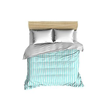 Vertical Stripes Pattern Solid on White Comforter