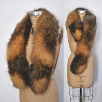 Gorgeous Fox Fur Collar / multicolor scarf boa
