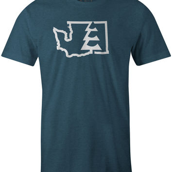 State Tree WA T-Shirt Indigo Heather