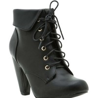 Mozza 03 Cuffed Lace Up Ankle Bootie