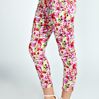 Evie 7/8th Slim Leg Floral Print Trousers