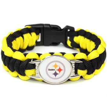 Paracord Survival Bracelet Pittsburgh Steelers Team USA Sport Fans Football Bracelets Friendship Bracelet Yellow and Black Cord