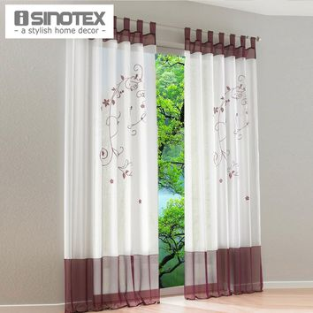Pastoral Embroidered Sheer Window Curtain