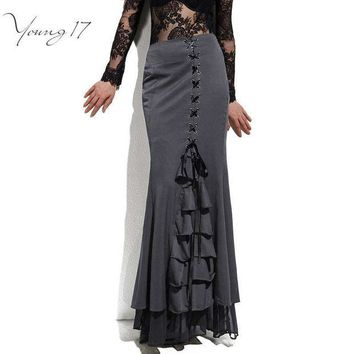 DCCKL3Z Young17 Skirt Long Frilly Women Sexy Fishtail Corset Lace-Up Slim Floor-Length Vintage trumpet sexy gothic style Mermaid skirts