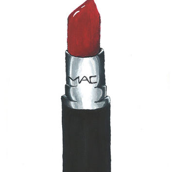 Ruby Red MAC Lipstick - Original Fashion Illustration by Lexi Rajkowski