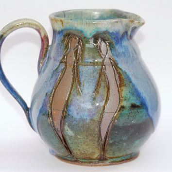 Blue green medium  Pitcher, Green blue Pottery Ceramic Pitcher, Pottery  pitcher, handmade pottery pitcher.