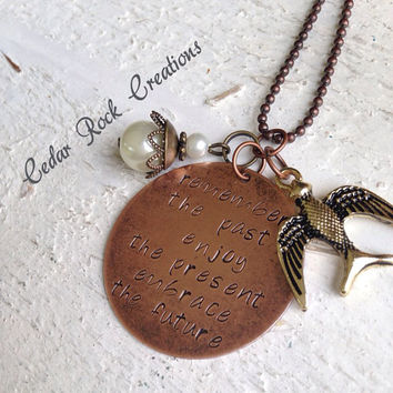 Hand Stamped Pendant With Charms -remember the past, enjoy the present, embrace the future