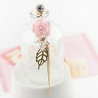 Earphone Jack Accessory Plated Gold Pink Flower Golden Leaves Tassel Chain Beads Crystal Pearls / Cell Charms / Dust Plug / Ear Jack For Iphone 4 4S / iPad / iPod Touch / Other 3.5mm Ear Jack