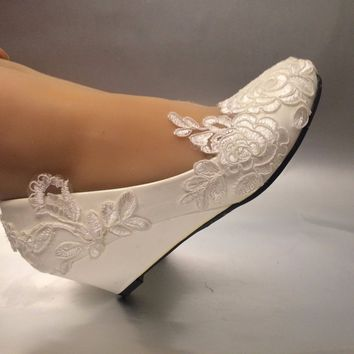 Womens Ivory lace White Wedding shoes Wedges - Free Shipping