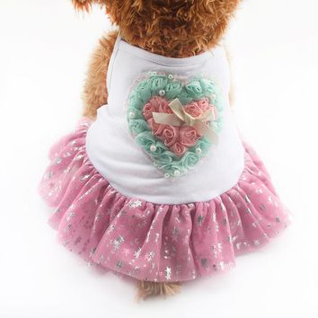 Rose Love Decoration Dog Dresses