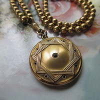 Antique Paste Locket Necklace in Gold Fill